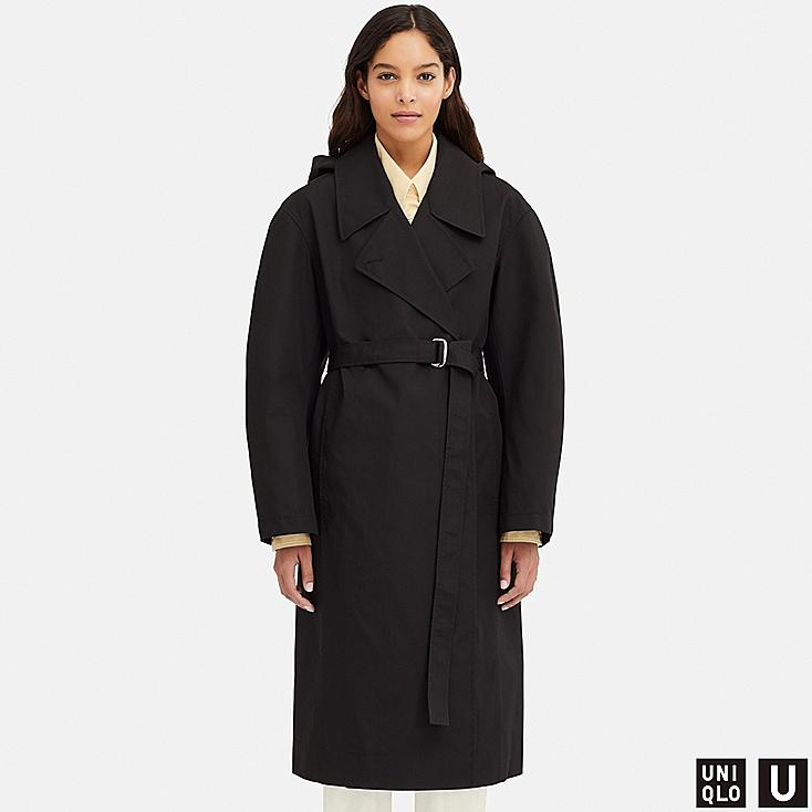 WOMEN U BLOCKTECH TRENCH COAT, BLACK, large
