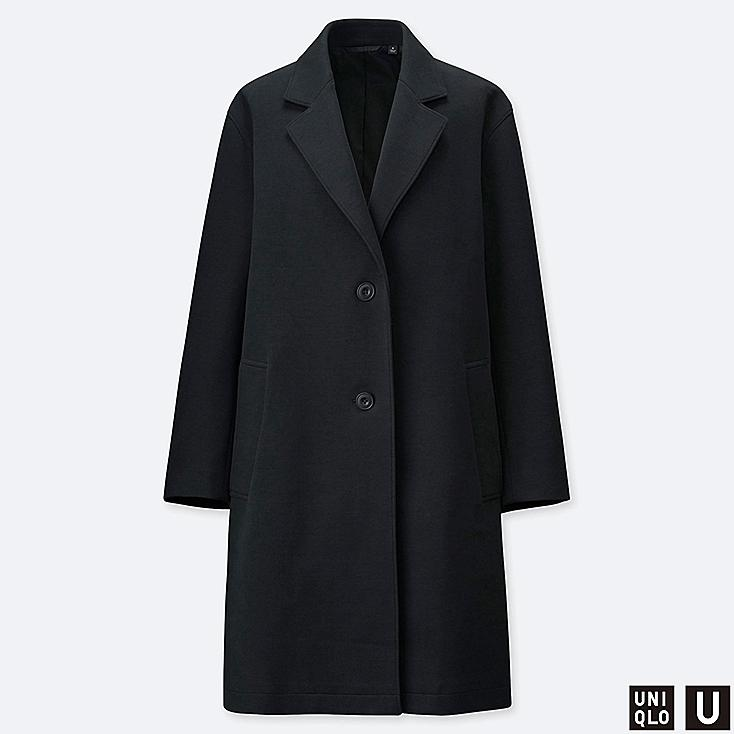 WOMEN U DOUBLE FACE COAT, BLACK, large