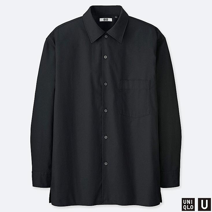 MEN U WIDE-FIT LONG-SLEEVE SHIRT, BLACK, large
