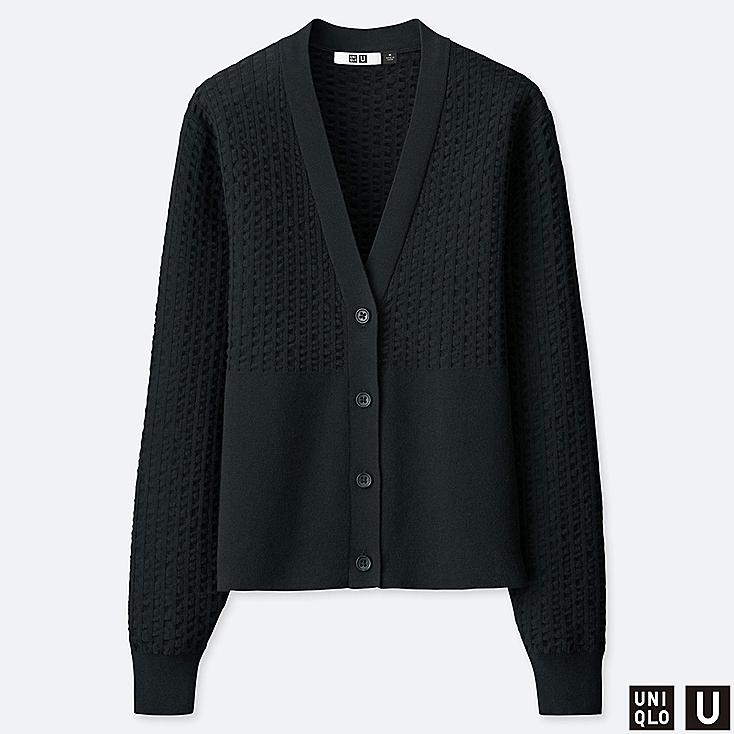 WOMEN U COTTON BALLOON SLEEVE CARDIGAN, BLACK, large