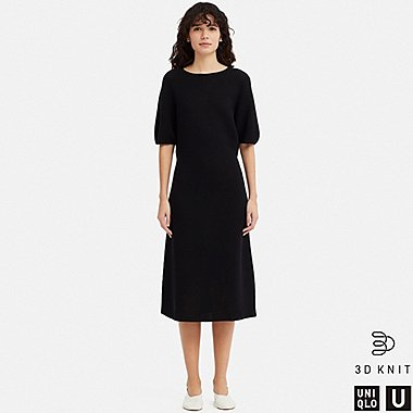 WOMEN UNIQLO U 3D KNIT BALLOON HALF SLEEVED DRESS