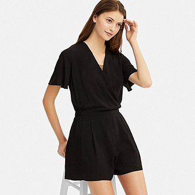WOMEN RAYON SHORT-SLEEVE ROMPER (ONLINE EXCLUSIVE), BLACK, medium