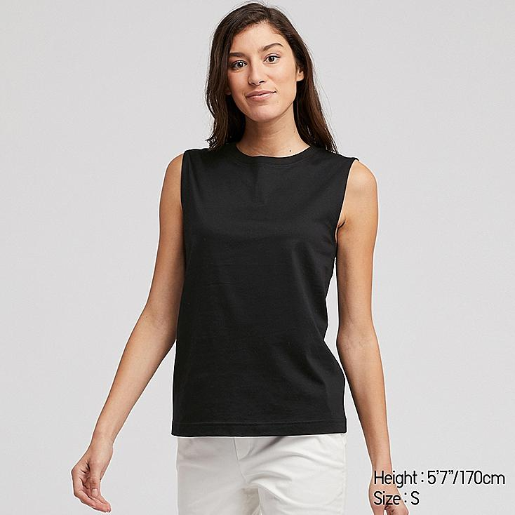 WOMEN MERCERIZED COTTON SLEEVELESS T-SHIRT, BLACK, large