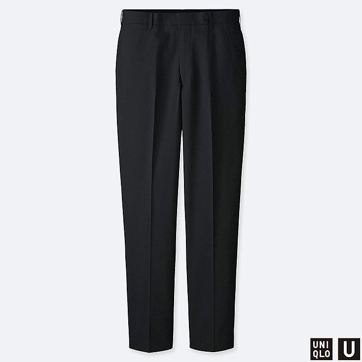 MEN U WIDE-FIT PANTS (SEERSUCKER), BLACK, large