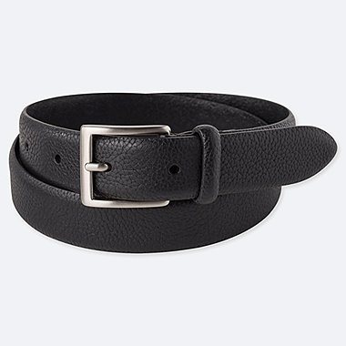 MEN ITALIAN LEATHER EMBOSSED BELT, BLACK, medium