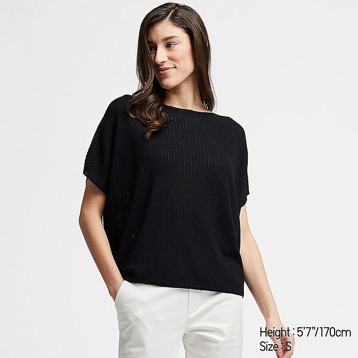WOMEN LACY BOAT NECK SHORT-SLEEVE SWEATER, BLACK, large