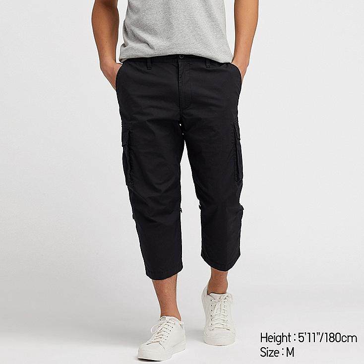 MEN PULL-ON ROLL UP 3/4 CARGO PANTS (ONLINE EXCLUSIVE), BLACK, large