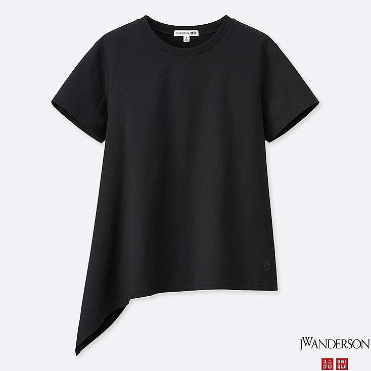 WOMEN MERCERIZED COTTON ASYMMETRIC SHORT-SLEEVE T-SHIRT (JW Anderson), BLACK, large