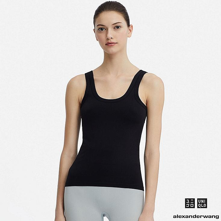 WOMEN AIRism SEAMLESS SLEEVELESS TOP (ALEXANDER WANG), BLACK, large