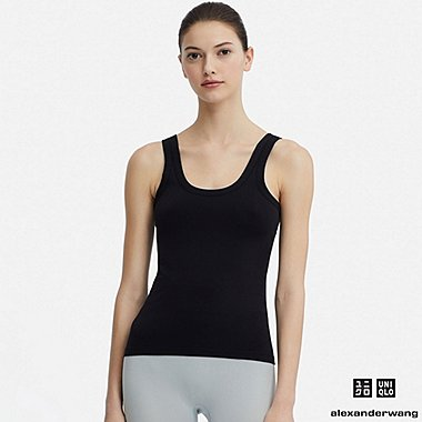 WOMEN AIRism SEAMLESS SLEEVELESS TOP (ALEXANDER WANG), BLACK, medium