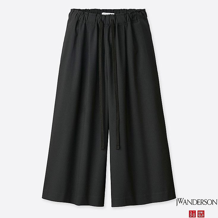 WOMEN WIDE CROPPED PANTS (JW Anderson), BLACK, large