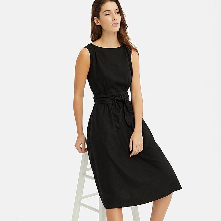 WOMEN LINEN BLEND A-LINE SLEEVELESS DRESS, BLACK, large