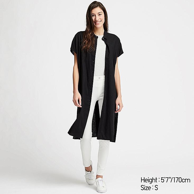 WOMEN LINEN BLEND SHORT-SLEEVE LONG SHIRT, BLACK, large