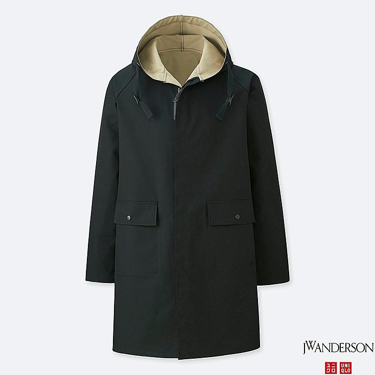 MEN REVERSIBLE HOODED COAT (JW Anderson), BLACK, large