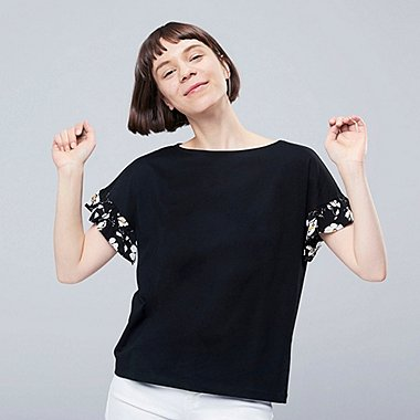 WOMEN STUDIO SANDERSON FOR UNIQLO UT (SHORT-SLEEVE GRAPHIC T-SHIRT), BLACK, medium