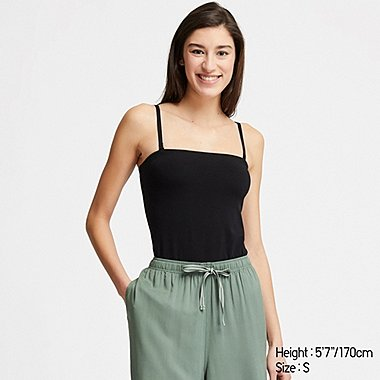 WOMEN COTTON BLENDED TUBE TOP, BLACK, medium