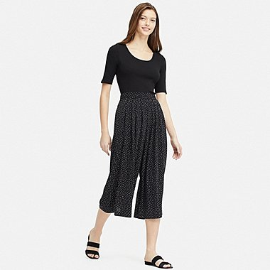 WOMEN CREPE JERSEY FLARE WIDE CROPPED PANTS, BLACK, medium