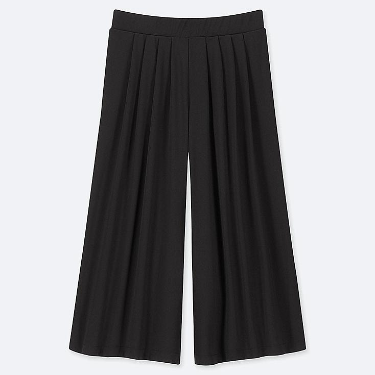 WOMEN CREPE JERSEY FLARE WIDE CROPPED PANTS, BLACK, large