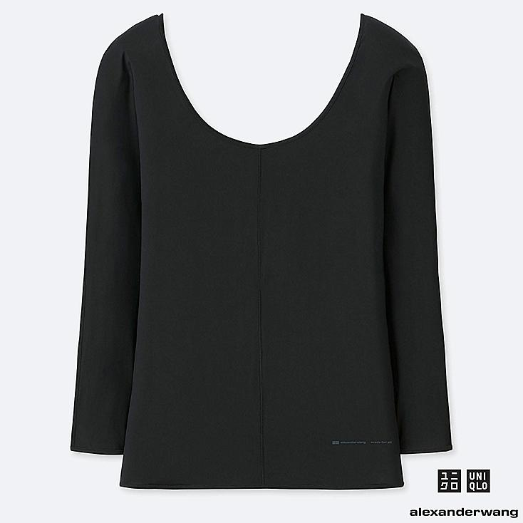 WOMEN AIRism ROUND NECK LONG-SLEEVE T-SHIRT (ALEXANDER WANG), BLACK, large