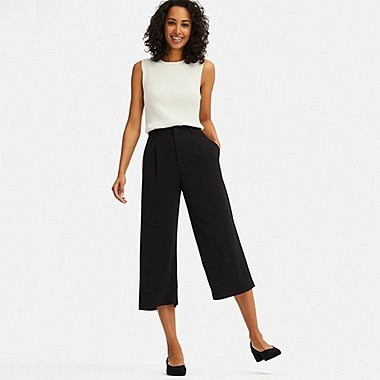 WOMEN DRAPE WIDE LEG CROPPED TROUSERS