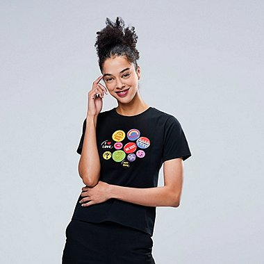 WOMEN Miranda July SHORT-SLEEVE GRAPHIC T-SHIRT, BLACK, medium