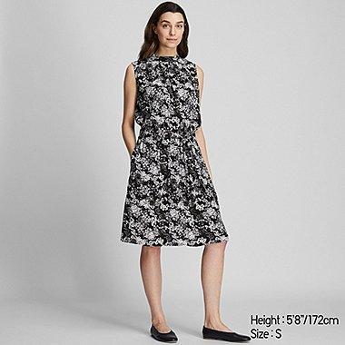 WOMEN PRINTED SLEEVELESS DRESS, BLACK, medium