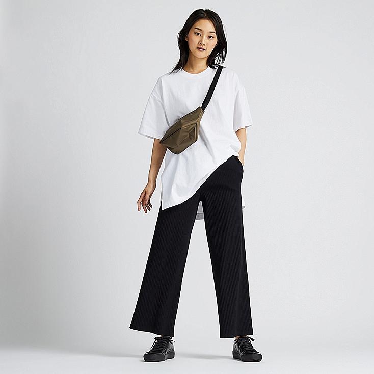 WOMEN COTTON RIBBED WIDE PANTS, BLACK, large