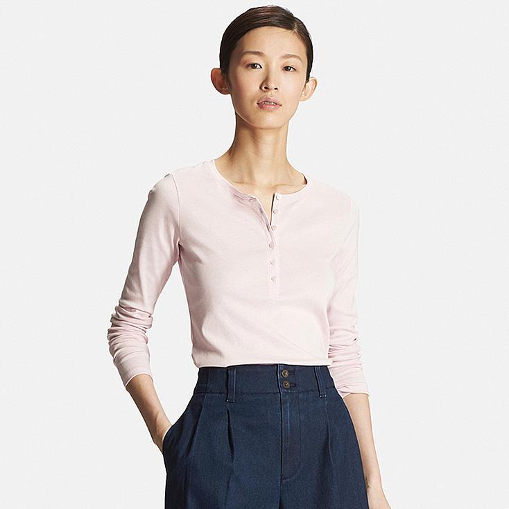 Women 39 s supima cotton long sleeve henley neck t shirt for Henley t shirt long sleeve