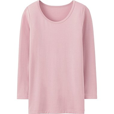 Kids HEATTECH Long Sleeve Scoopneck T-Shirt, PINK, medium