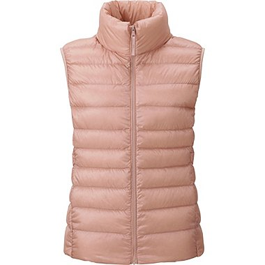 Womens Ultra Light Down Vest, PINK, medium