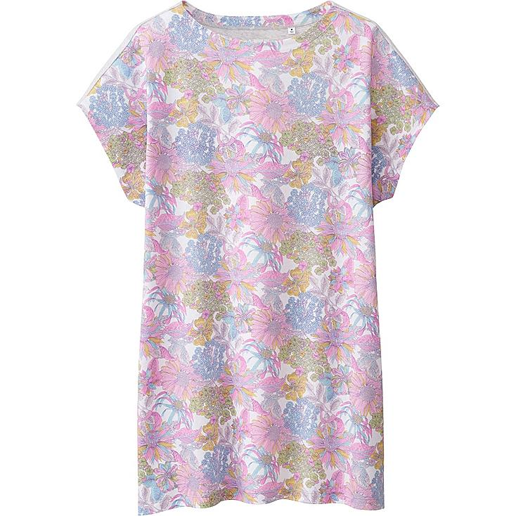 Women's LIBERTY LONDON Short Sleeve Graphic Tunic, PINK, large