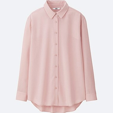 WOMEN Easy Care Silk Touch Long Sleeve Blouse