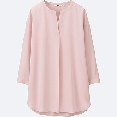WOMEN Easy Care Rayon Open Collar 3/4 Sleeve Blouse