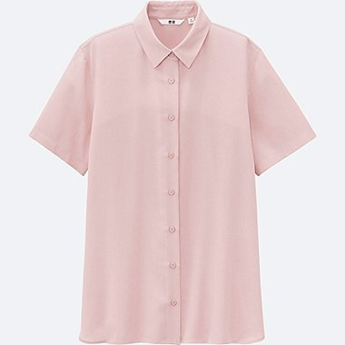 WOMEN EASY CARE Silk Touch Short Sleeve Blouse