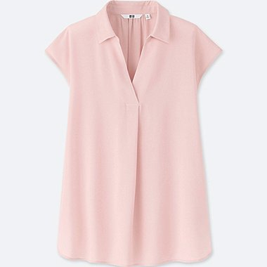 WOMEN RAYON FRENCH-SLEEVE BLOUSE, PINK, medium