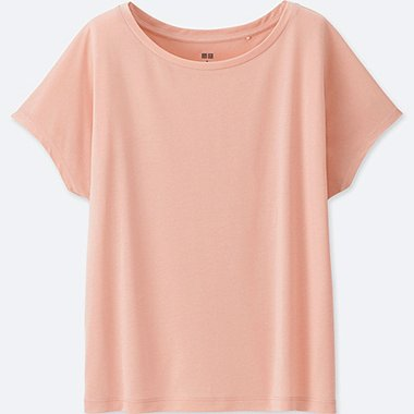WOMEN DRAPE CREWNECK SHORT-SLEEVE T-SHIRT, PINK, medium