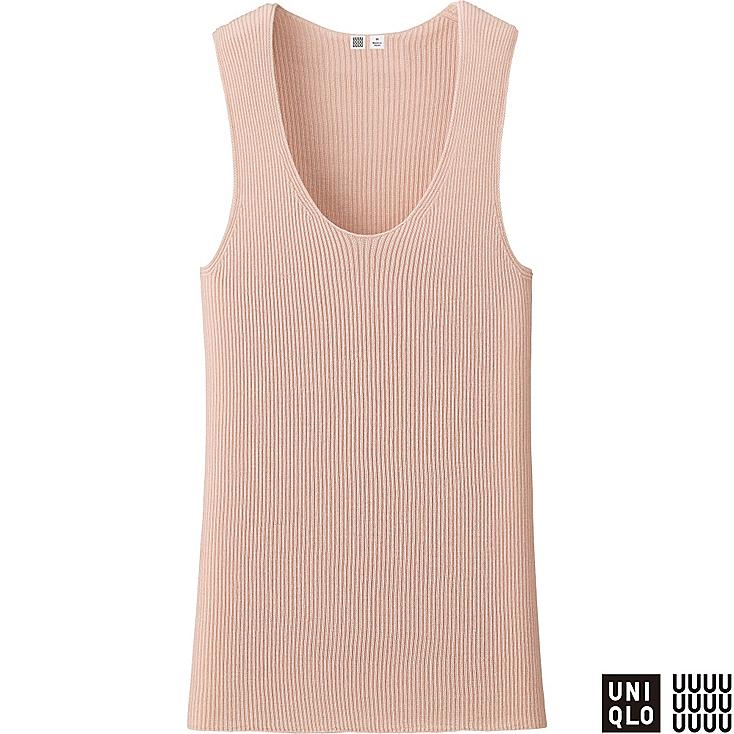 WOMEN U CASHMERE RIBBED SLEEVELESS TOP, PINK, large