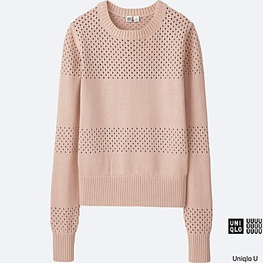 WOMEN U COTTON MESH CREWNECK SWEATER, PINK, medium