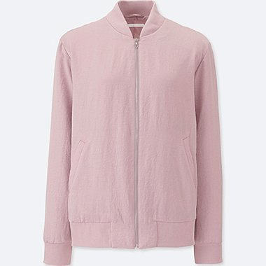 WOMEN SOFT BOMBER JACKET, PINK, medium