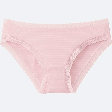 WOMEN BIKINI (STRIPE), PINK, medium
