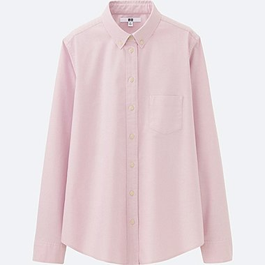 WOMEN OXFORD LONG-SLEEVE SHIRT, PINK, medium