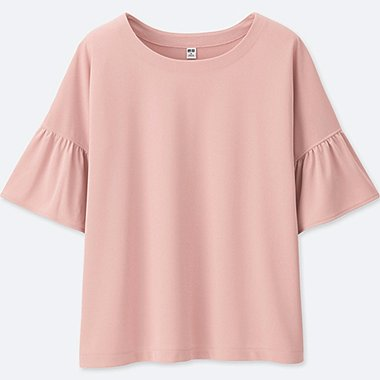 WOMEN Frill Blouse Short Sleeve T-Shirt