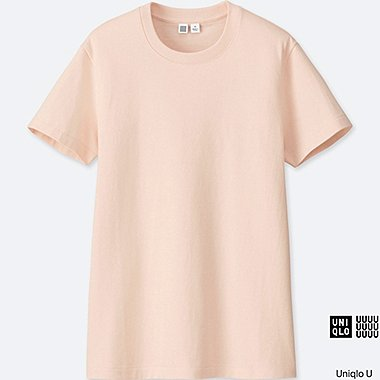 WOMEN U CREW NECK SHORT SLEEVE T-SHIRT, PINK, medium