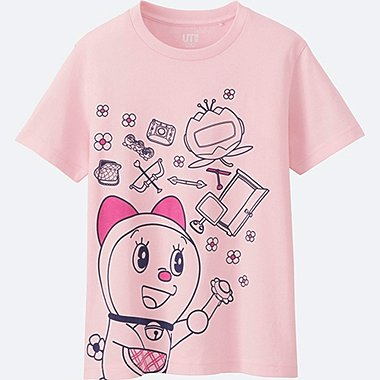 KIDS DORAEMON SHORT SLEEVE GRAPHIC T-SHIRT, PINK, medium