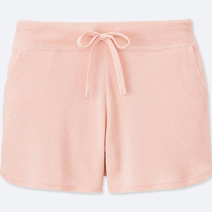 WOMEN AIRism PILE LINED LOUNGE SHORTS, PINK, large