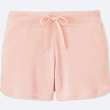 WOMEN AIRism PILE LINED LOUNGE SHORTS, PINK, medium