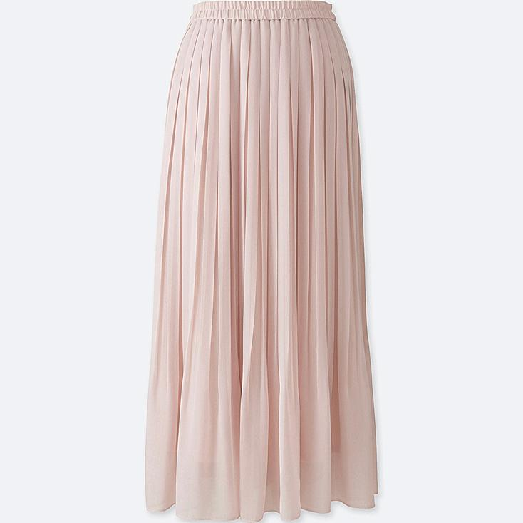Print Chiffon Pleated Maxi Skirt: Flowing chiffon skirt features soft, all around pleats and a comfortable elastic waistband that makes it a must-have for every closet. Fully lined for modesty Polyester.
