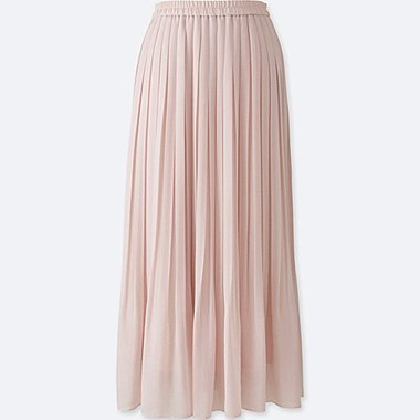 WOMEN HIGH WAIST CHIFFON PLEATED SKIRT, PINK, medium
