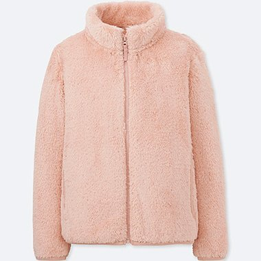 GIRLS FLUFFY YARN FLEECE LONG-SLEEVE JACKET, PINK, medium