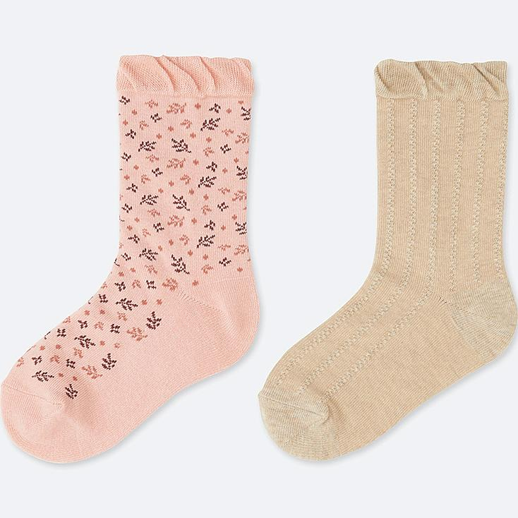 GIRLS REGULAR SOCKS (2 PAIRS), PINK, large